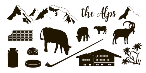 The Alps flat icons. Mountain Matterhorn, Alpine ibex, chalet, edelweiss flowers, alpenhorn