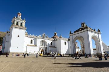 In de dag Monument Basilica of Our Lady of Copacabana, Bolivia
