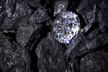 Diamond in amongst pieces of Coal
