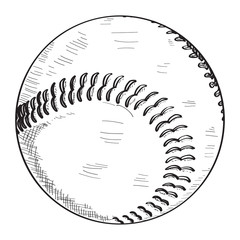 Isolated sketch of a baseball ball, Vector illustration