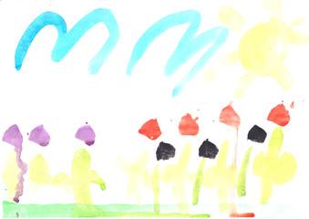 Wasserfarben Blumenmeer