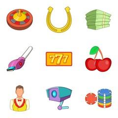 Dangerous hobby icons set, cartoon style