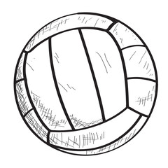 Isolated sketch of a volleyball ball, Vector illustration