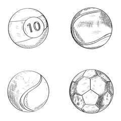 Set of sketches of sport balls, Vector illustration