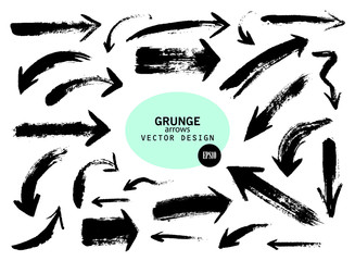 Set of different grunge brush arrows, pointers.Hand drawn paint object for design use.