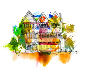 Medieval Tudor age long house in Oxford, sketch collection. Sketch with colourful water colour effects