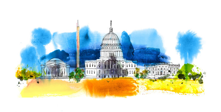 Washington DC. White house and obelisk. Sketch composition with colourful water colour effects