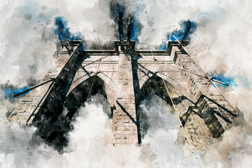 Watercolor Brooklyn bridge