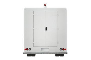 Van car commercial trailer, back view. 3D rendering