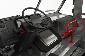 Van interior cabin dashboard, close view. 3D rendering