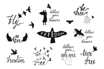 Vector set of hand drawn calligraphy phrases with flying birds,