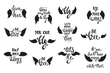 Vector set of hand drawn calligraphy phrases with angel wings. R