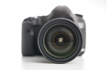Professional camera with lens.