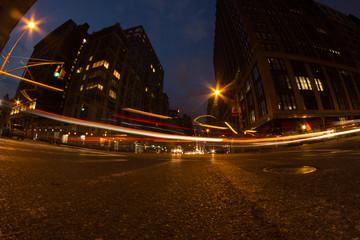 New York City traffic lights in motion