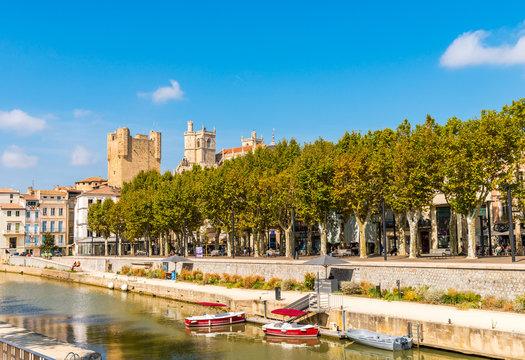 canal de la Robine à Narbonne dans l'Aude en Occitanie, France