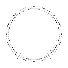 Halftone dotted background circularly distributed. Halftone effect vector pattern. Circle dots isolated on the white background.
