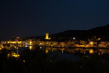 Night falls on Tisno on Murter island in Croatia