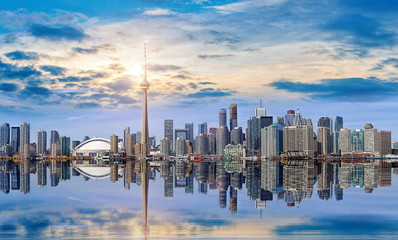 Printed roller blinds Toronto Toronto skyline from Ontario lake