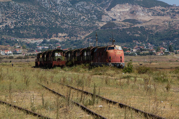 Abandoned railway train rusting and decaying in Albania