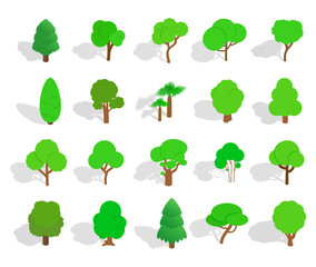Green tree icon set, isometric style