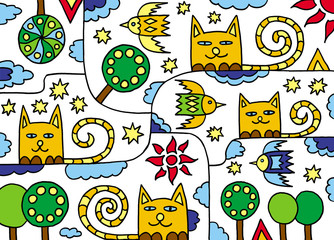 The universe of cats. Art for children