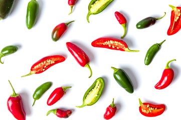 In de dag Hot chili peppers Colorful jalapenos peppers on white background