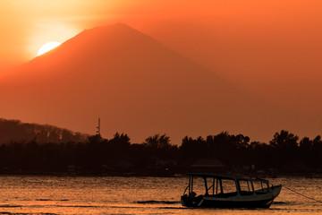 Sunset behind Mount Agung