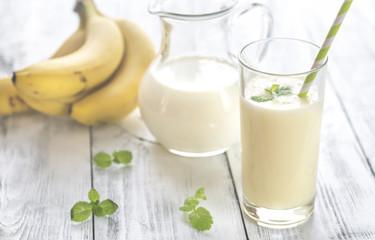 Glass of banana milk shake