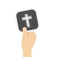 Hand hält graue Karte - Kreuz