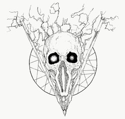 Hand Drawn Abstract Skull in Triangle