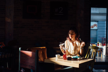 Young woman having a breakfast