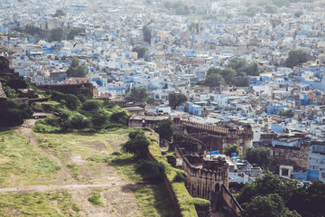 Blue city vista - the view from The Mehrangarh Fort, Jodhpur, India