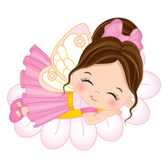 Vector Cute Little Fairy Sleeping on Flower