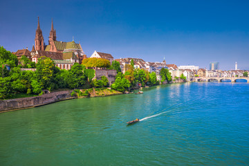 Old city center of Basel with Munster cathedral and the Rhine river, Switzerland Fototapete
