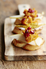 Bruschetta with Pears, Pumpkin and Pomegranate