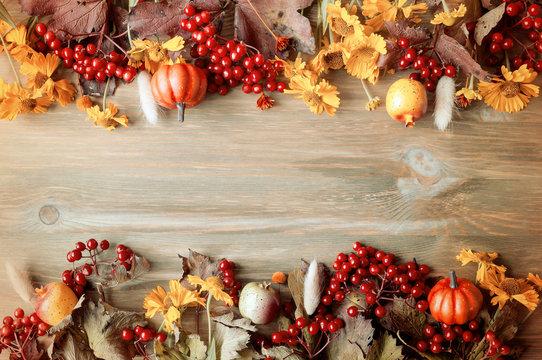 Autumn background. Seasonal autumn nature berries, pumpkins, apples, flowers on the wooden background. Autumn still life