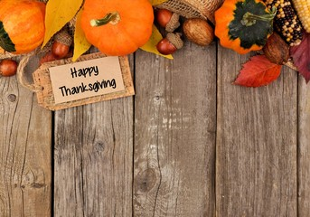 Happy Thanksgiving Gift Tag With Side Border Of Colorful Leaves And