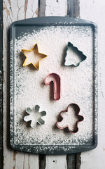 Holiday: Christmas Cookie Cutters In Flour