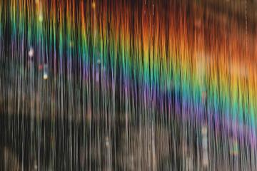 Rainbow waterdrops in slow shutter speeed