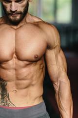 Bodybuilder working out