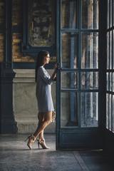 Businesswoman in a Blue Dress