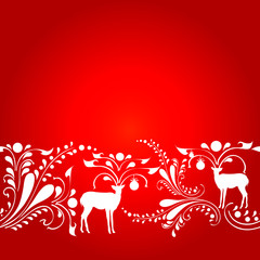 Christmas deer, red and white