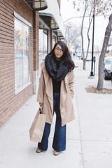 Downtown portrait of stylish urban shopper