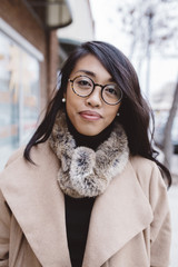 Downtown portrait of stylish urban woman