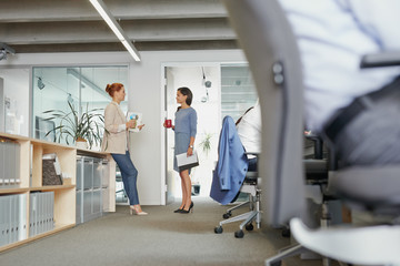 Two business women meeting in office drinking coffee