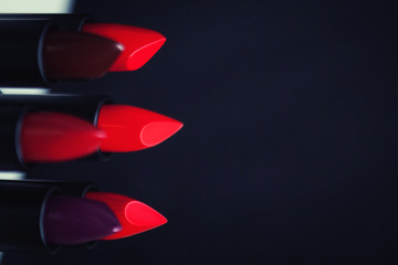 Make-up concept. Fashion Colorful Lipsticks. Professional make-up and beauty. Beautiful make-up. Lip gloss.