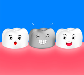 Healthy cartoon tooth with silver tooth. Metal crowns. dental care concept. Illustration isolated on blue background.
