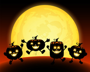 Cute cartoon pumpkin character in the moonlight. Trick or Treat concept, Happy Halloween day. Funny illustration.