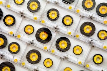 Cassette tapes on white