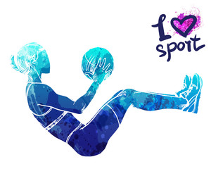 Bright watercolor silhouette of a girl is training with a ball. Vector sport illustration. Graphic figure of the athlete. Active people. Recreation lifestyle. I love sport.